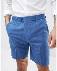 ASOS - Design Slim Mid Length Smart Shorts In Pale Blue - Lyst