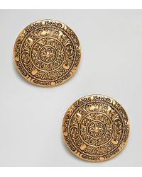 Regal Rose - Dominique Gold Plated Ornate Oversized Coin Clip On Statement Earrings - Lyst