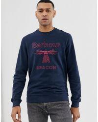 Barbour - Stitch Crew Neck Sweat In Navy - Lyst