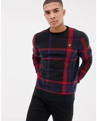 Lyle & Scott - Tartan Crew Neck Jumper In Black - Lyst