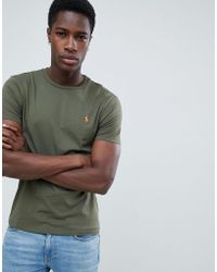 Polo Ralph Lauren - Custom Slim Fit T-shirt Player Logo In Olive Green - Lyst