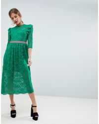 ASOS - Midi Lace Tea Dress With Sports Tipping - Lyst