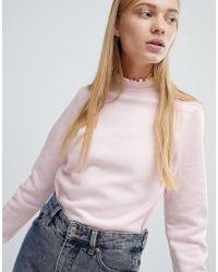 Monki | Ruffle Collar Sweatshirt | Lyst