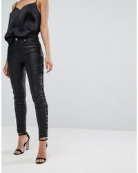 Lipsy - Coated Jeans With Lace Up Sides - Lyst