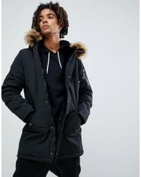 Sixth June - Parka Coat In Black With Brown Faux Fur Hood - Lyst