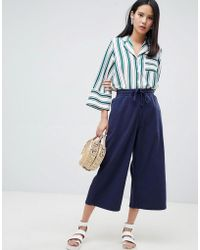 Monki - Denim Wide Leg Culottes - Lyst