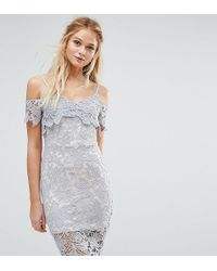 f8fb24220a7 Boohoo Lace Top Fluted Sleeve Skater Dress in White - Lyst