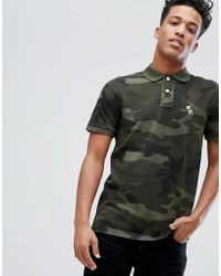 Abercrombie & Fitch - Core Slim Fit Polo With Moose Icon In Green Camo - Lyst