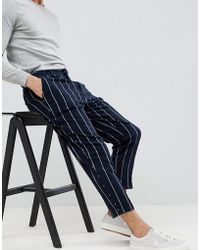ASOS - Tapered Smart Pants In Navy Stripe - Lyst