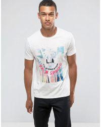 Mango - Man T-shirt With La Print In White - Lyst