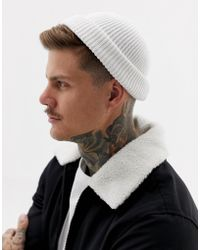 4b65d22c372 ASOS - Mini Fisherman Beanie In White Rib Recycled Polyester - Lyst