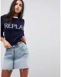 Replay - Knitted Logo Jumper - Lyst