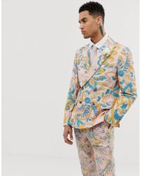 ASOS - Wedding Slim Double Breasted Suit Jacket In Paisley Print - Lyst