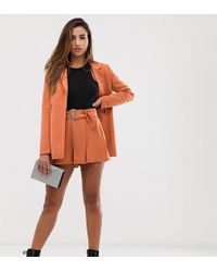 Missguided - Pleated Shorts Co-ord In Orange - Lyst