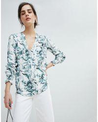 Oasis - Floral Print Collarless Shirt - Lyst