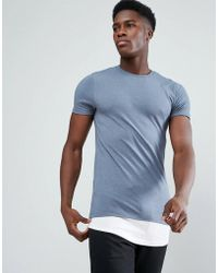 ASOS - Super Longline Muscle T-shirt With Contrast Hem Extender - Lyst