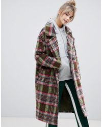 Pull&Bear - Double Breasted Coat In Check - Lyst