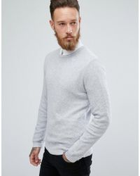 ASOS - Asos Muscle Fit Lightweight Textured Sweater In Pale Gray - Lyst