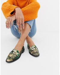 11ca607743f9e8 Lyst - ASOS Metaphor Embellished Flat Shoes in Metallic