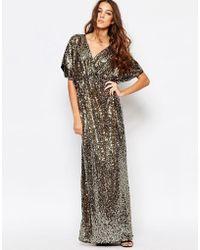 First & I - Sequin Kimono Sleeve Maxi Dress - Lyst