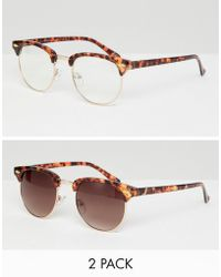 b3e8eb72ca ASOS - 2 Pack Retro Sunglasses In Tort With Clear Lens   Brown Grad Lens -
