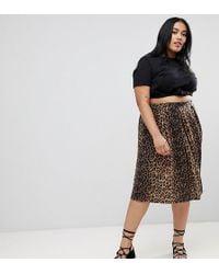ASOS - Asos Design Curve Box Pleat Midi Skirt In Leopard Print - Lyst
