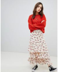 Glamorous - Maxi Skirt With Ruffle Tiers In Floral - Lyst