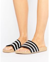 adidas Originals - Originals Adilette Slider Sandals Wth Cork Sole - Lyst