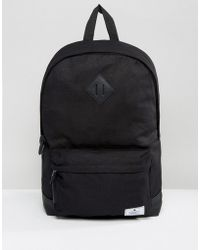 ASOS - Backpack In Black Canvas With Faux Leather Base - Lyst