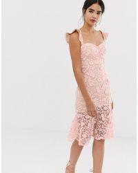 eadc8199d Jarlo - Vestido midi con encaje bordado rosa y detalle de escote Bardot con  volante de