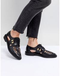 SELECTED - Femme Leather Caged Lace Up Flat Shoe - Lyst