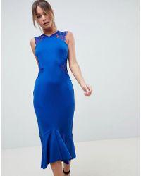 ASOS - Design Scuba Lace Insert Pephem Midi Dress - Lyst