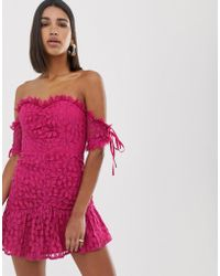 Love Triangle - Sweetheart Ruched Lace Mini Dress With Bow Sleeves In Raspberry - Lyst