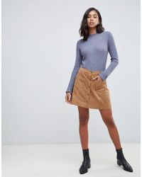 Abercrombie & Fitch - Suedette Button Through Mini Skirt - Lyst