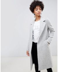 River Island - Tailored Coat With Single Fastening In Grey - Lyst