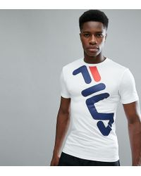 ca16f18ea2a4 Fila - Black Line Compression T-shirt With Large Logo In White - Lyst