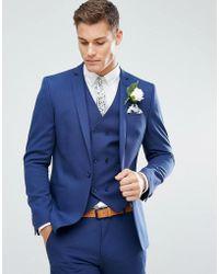 ASOS - Chaqueta de traje ajustada para boda con cuadros sutiles en azul y  forro estampado c9b9e40099df