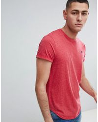 Hollister - Curved Hem Crew Neck T-shirt Seagull Logo In Pink Marl - Lyst