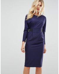ASOS | Midi Dress With Elastic Waist Detail | Lyst