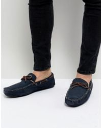 Dune - Driving Shoes In Navy Suede - Lyst