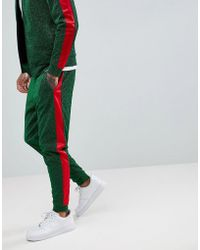 Jaded London - Side Stripe Skinny Joggers In Green - Lyst