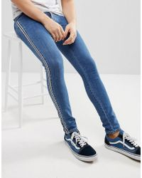ASOS - Extreme Super Skinny Jeans In Mid Wash Blue With Side Stripe - Lyst