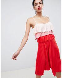 ASOS - Colourblock Tiered Midi Pleated Dress - Lyst