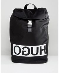 HUGO - Reverse Logo Nylon Backpack In Black - Lyst