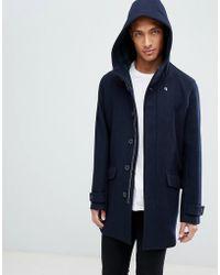 Farah - Oxton Hooded Wool Coat In Navy - Lyst