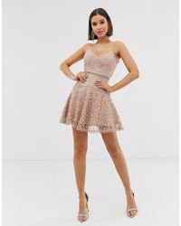 Love Triangle - Cami Skater Dress In Floral Crochet Lace In Latte - Lyst