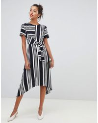 Oasis - Hanky Hem Midi Dress In Black & White Stripe - Lyst