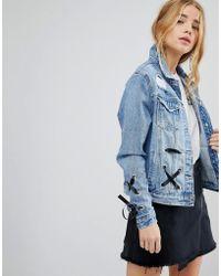Urban Bliss | Lace Up Denim Jacket | Lyst