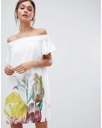 Ted Baker - Off Shoulder Playsuit In Tranquility Floral Print - Lyst