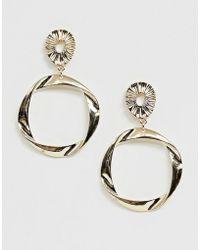 River Island - Drop Hoop Earrings In Gold - Lyst